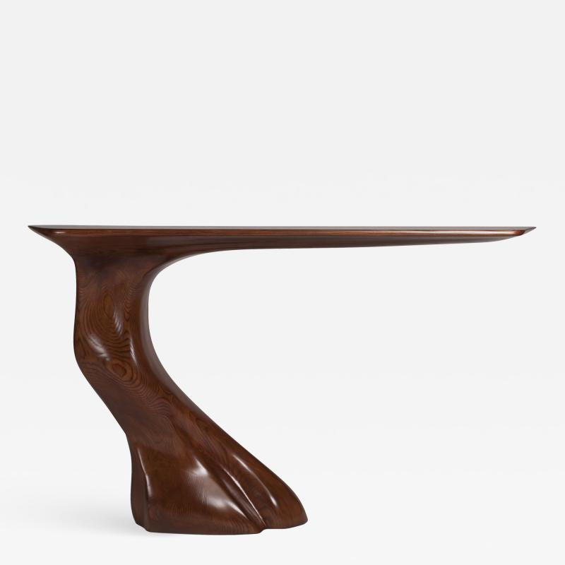 Amorph Contemporary Solid Ash Wood Console Table Walnut Finish