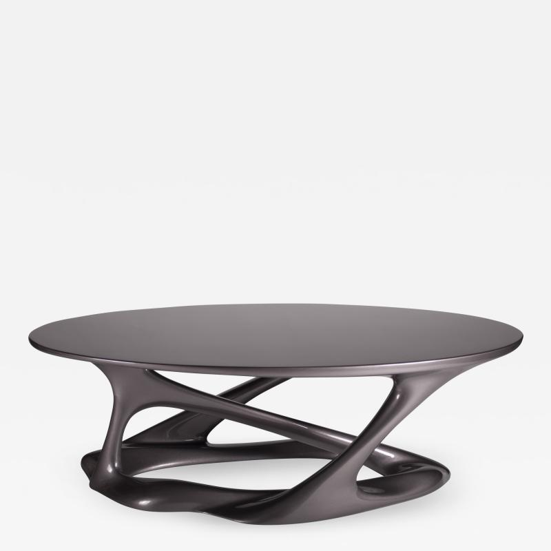 Amorph Oval Shape with Organic Shape Legs Dark Gray Metallic Finish
