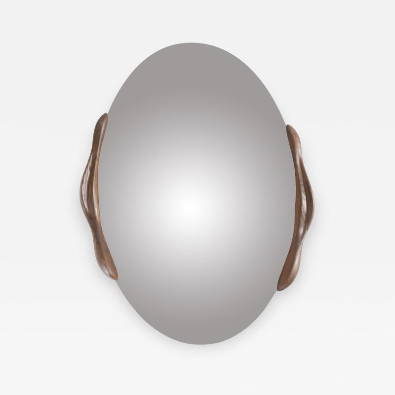 Amorph Oval Shaped Mirror with Ash Wood Frame Stained Rusted Walnut