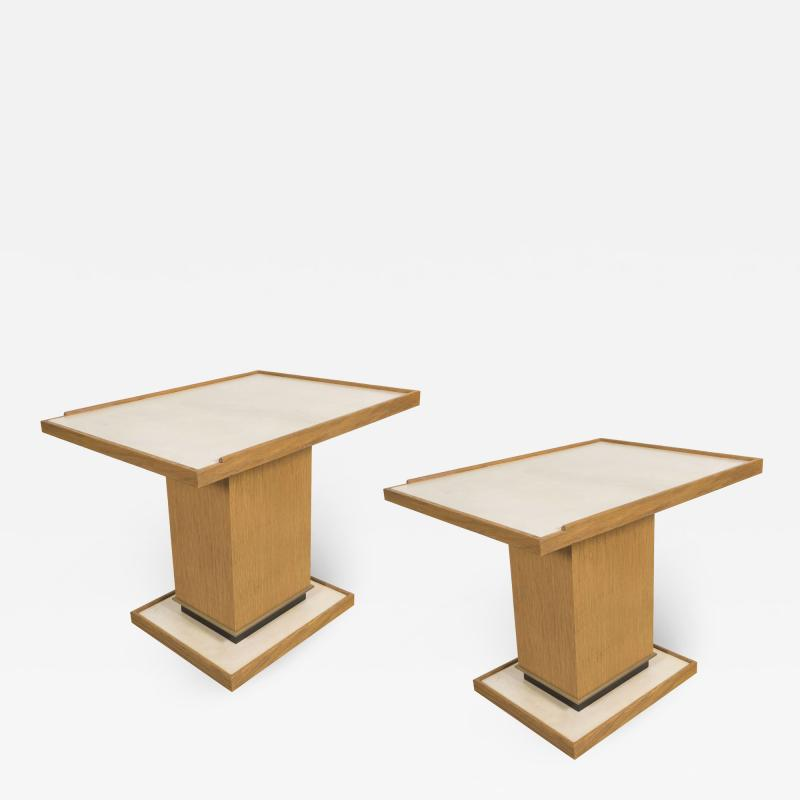 Appel Modern Cerused oak side tables Manner of Dupr Lafon by Appel Modern
