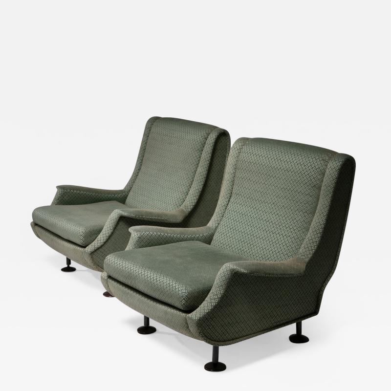 Arflex Pair of Regent Lounge Chairs by Marco Zanuso for Arflex