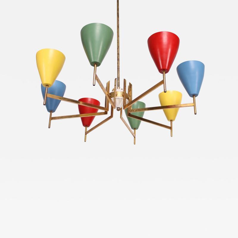 Arredoluce Festive Italian Multi Colored Modernist Chandelier Arredoluce 1950s