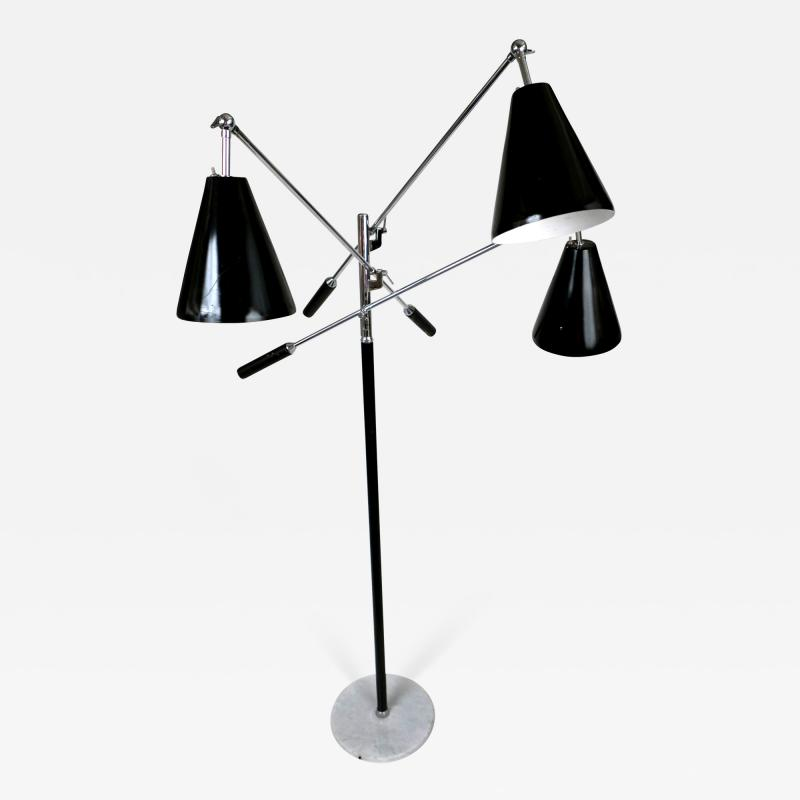 Arredoluce Italian Modern Chrome Leather and Marble Triennale Floor Lamp