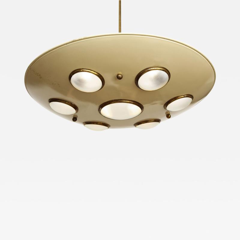 Arredoluce Suspension light in cream enameled with brass trimmed lenses
