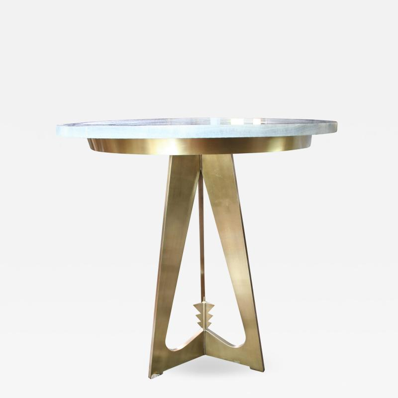 Arriau Pedestal in Brass and Top in Onyx Model Cupidon by Arriau