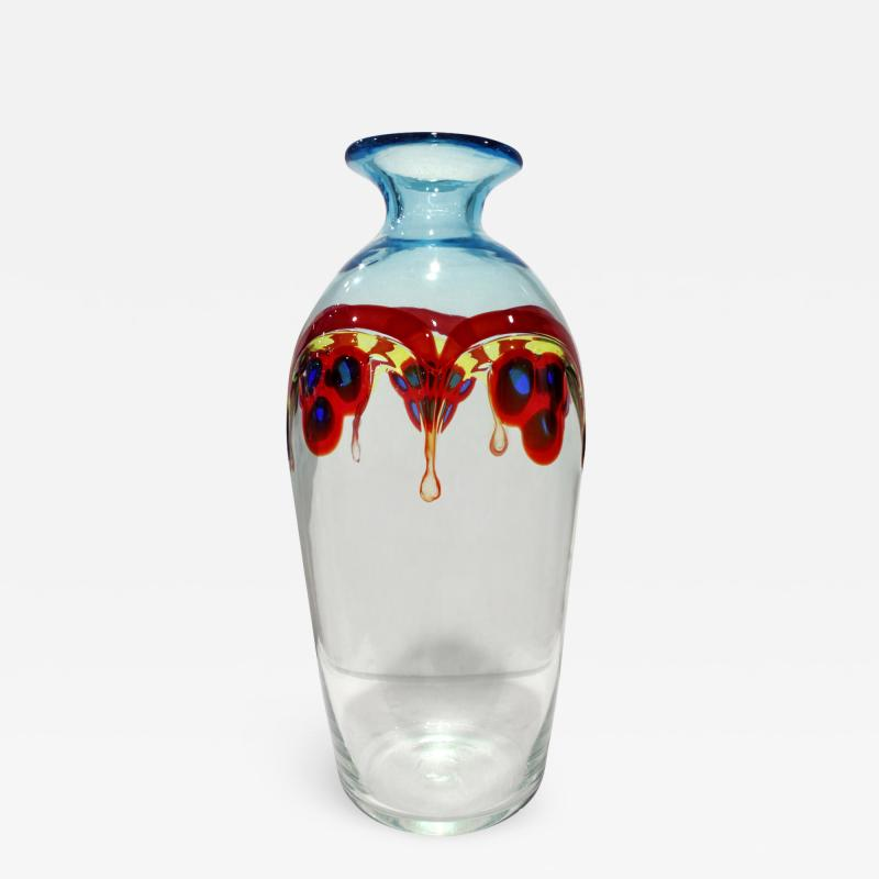 Arte Vetraria Muranese A V E M A Ve M AVeM A V E M Hand Blown Glass Vase With Multi Colored Rods and Murrhines 1950s