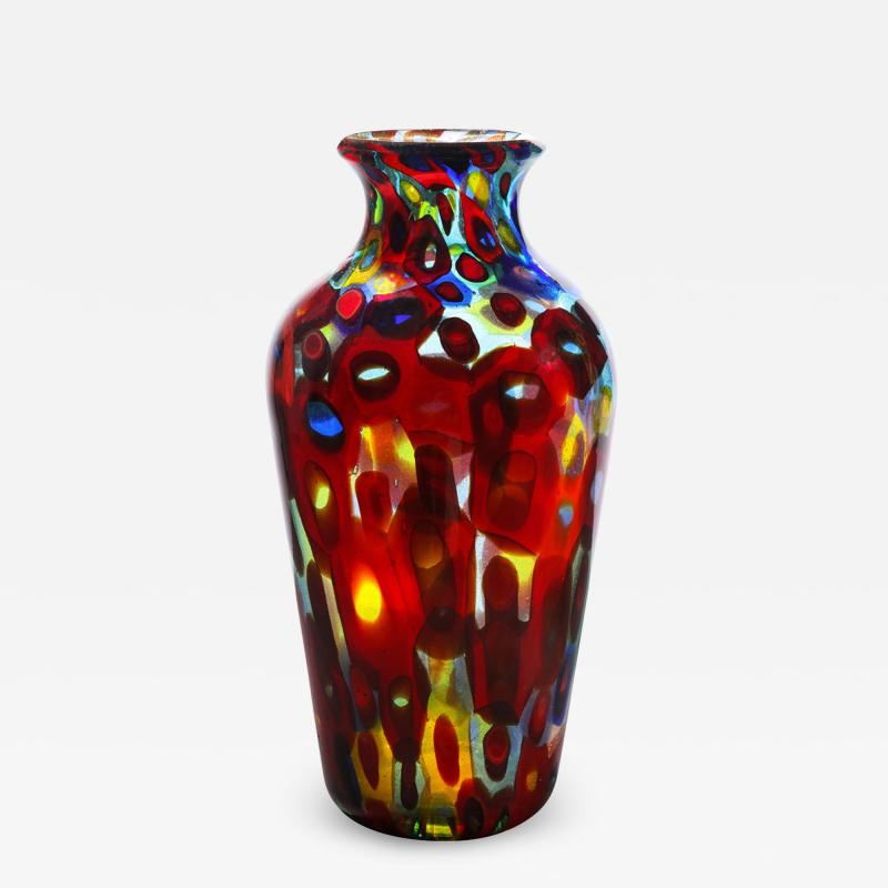 Arte Vetraria Muranese A V E M A Ve M AVeM Handblown Glass Vase with Gold Foil and Large Murrhines By A V E M 1950s