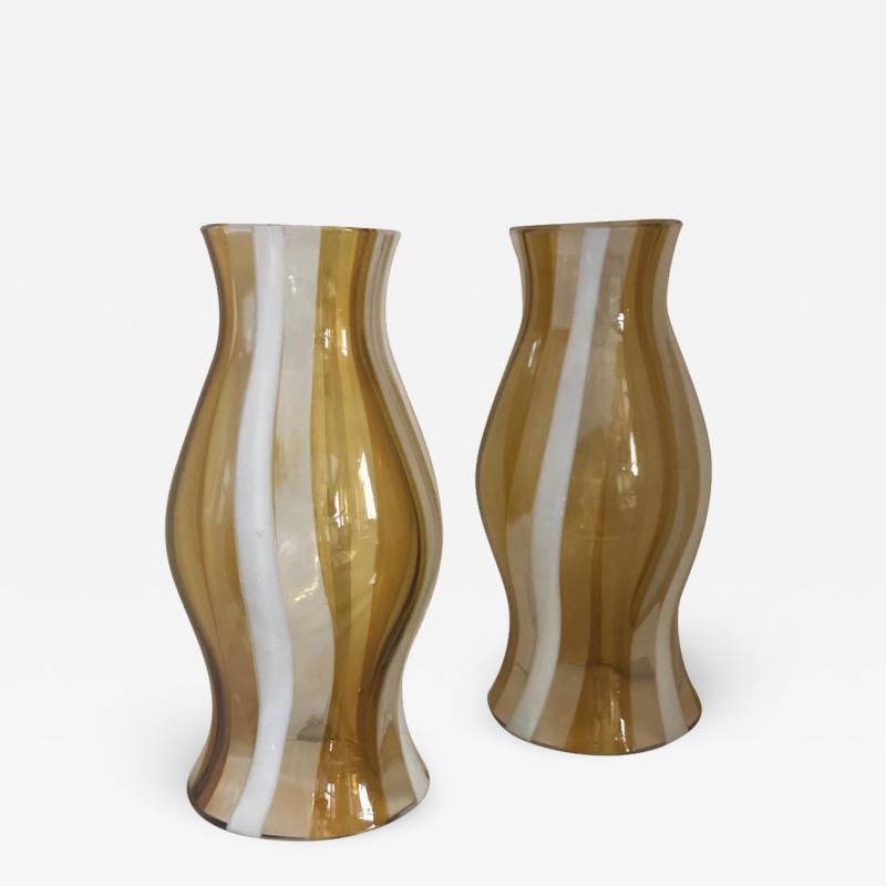 Arte Vetro Murano Pair of Vintage Murano Glass Hurricane Shades Italian 1960s