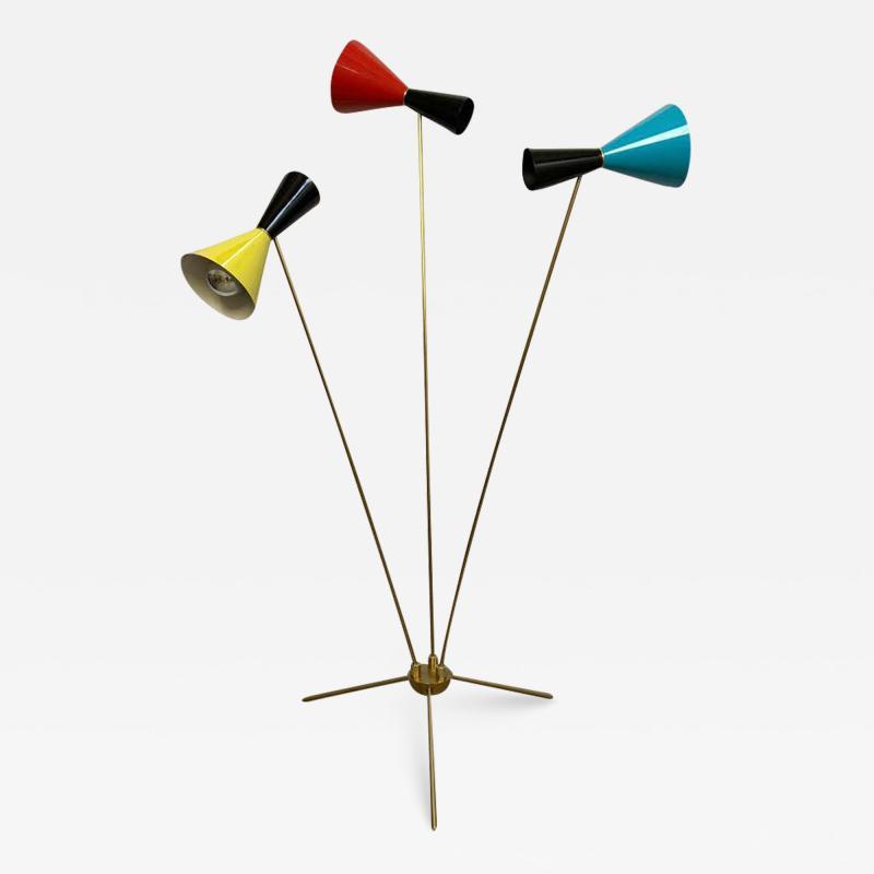Arteluce Italian Modern Triennale 3 Arm Articulating Adjustable Floor Lamp Italy 1960s