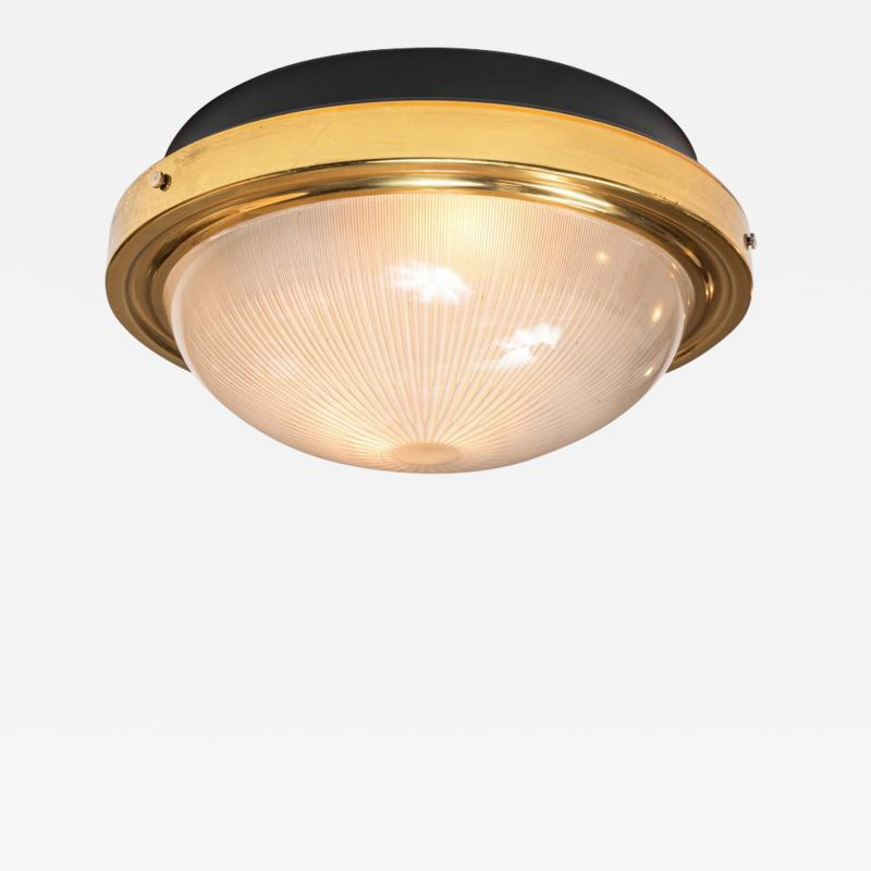 Artemide 1960s Sergio Mazza Brass and Glass Wall or Ceiling Light for Artemide