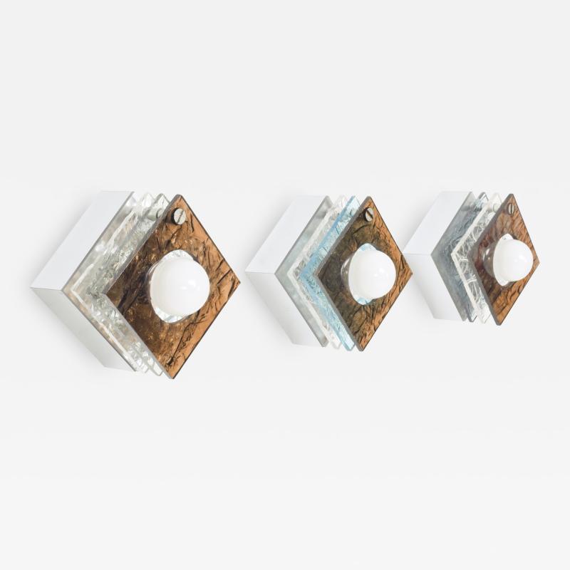 Artemide Multi Colored Square Sconces in Textured Plexiglass after ARTEMIDE Italy 1980s