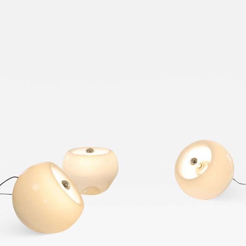 Artemide Set of 3 hand blown Vacuna lamps by Eleonore Peduzzi Riva for Artemide 1960s