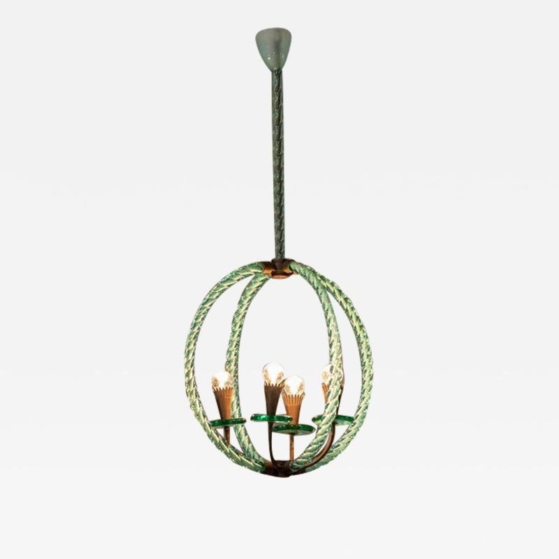 Artisti Barovier Barovier Green Hand Blown Murano Glass Chandelier