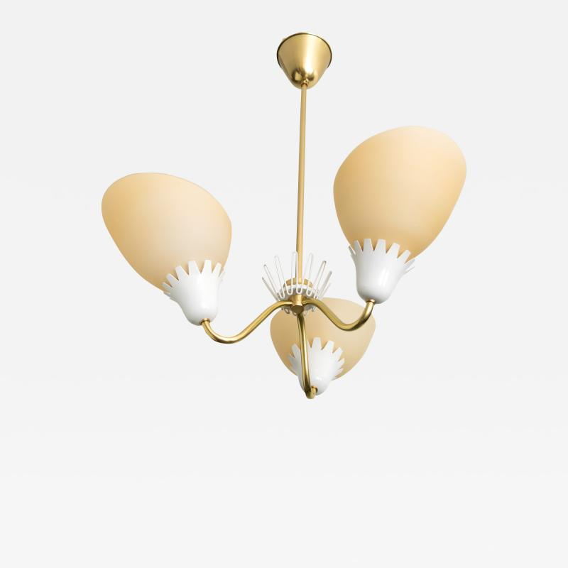 Asea ASEA BRASS 3 ARM CHANDELIER WITH OPALINE GLASS SHADES