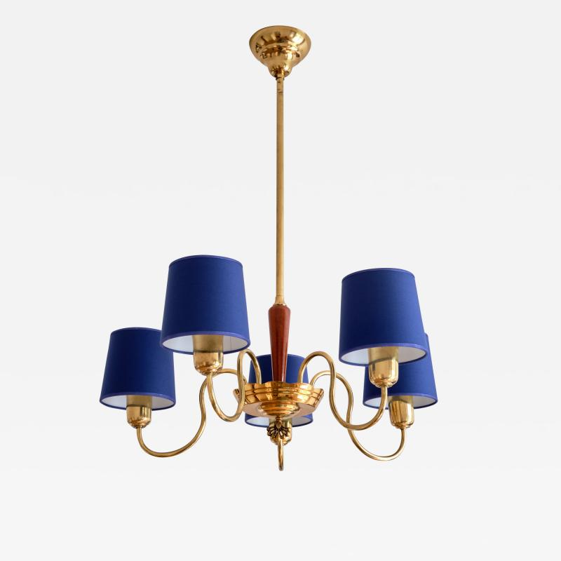 Asea ASEA Five Arm Chandelier in Brass with Blue Shades Sweden 1940s