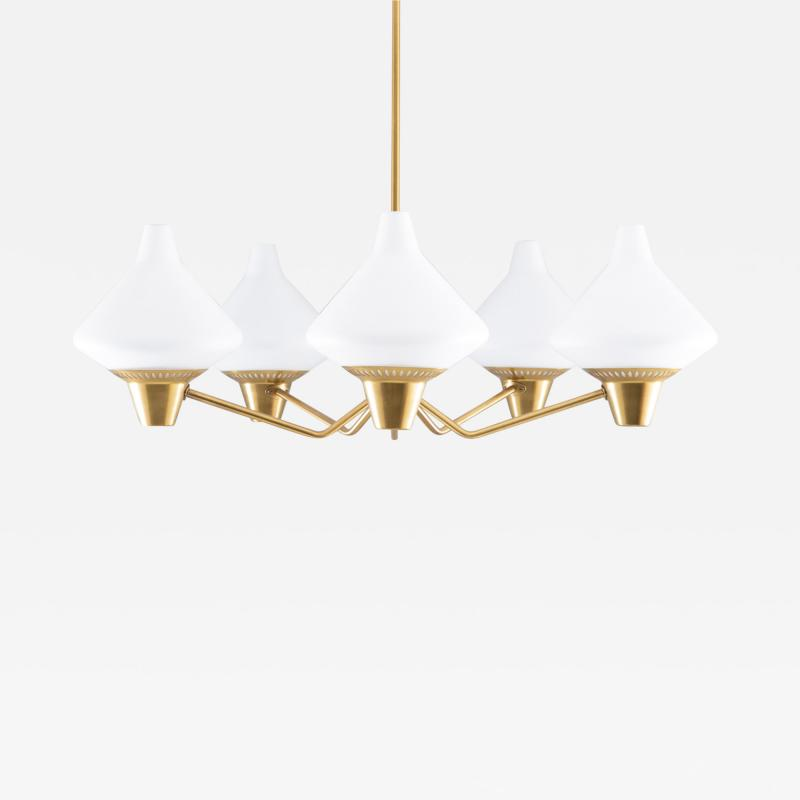 Asea Swedish Midcentury Chandelier in Brass and Opaline Glass by ASEA