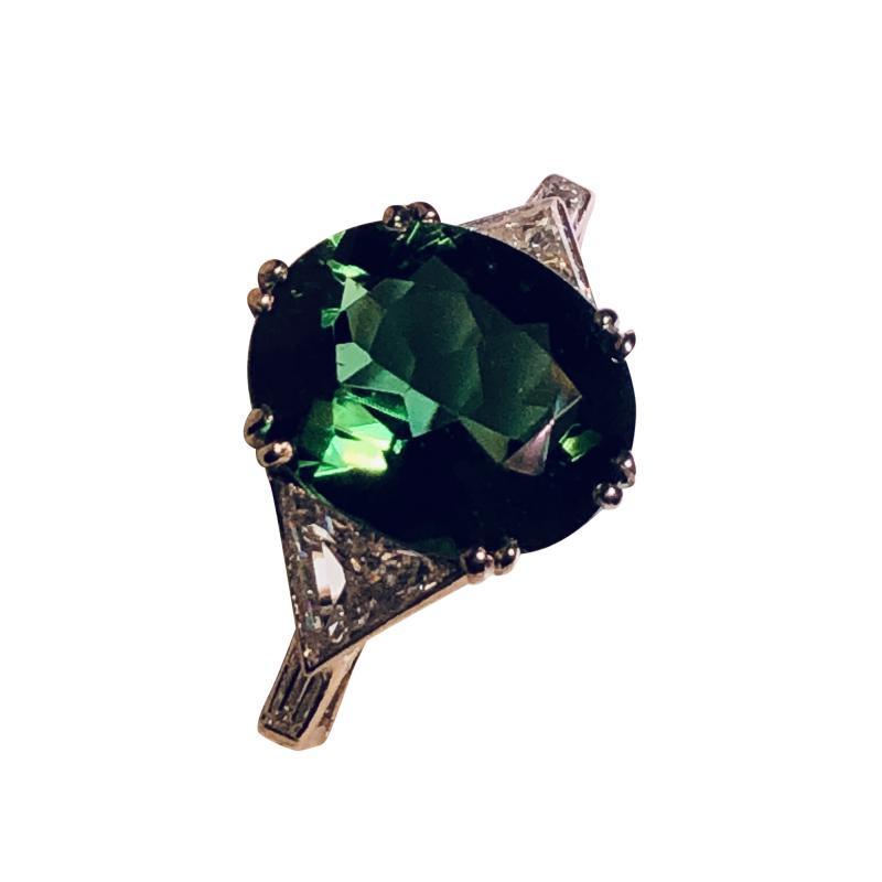 Asprey Asprey Tourmaline triangular Diamond Platinum Ring