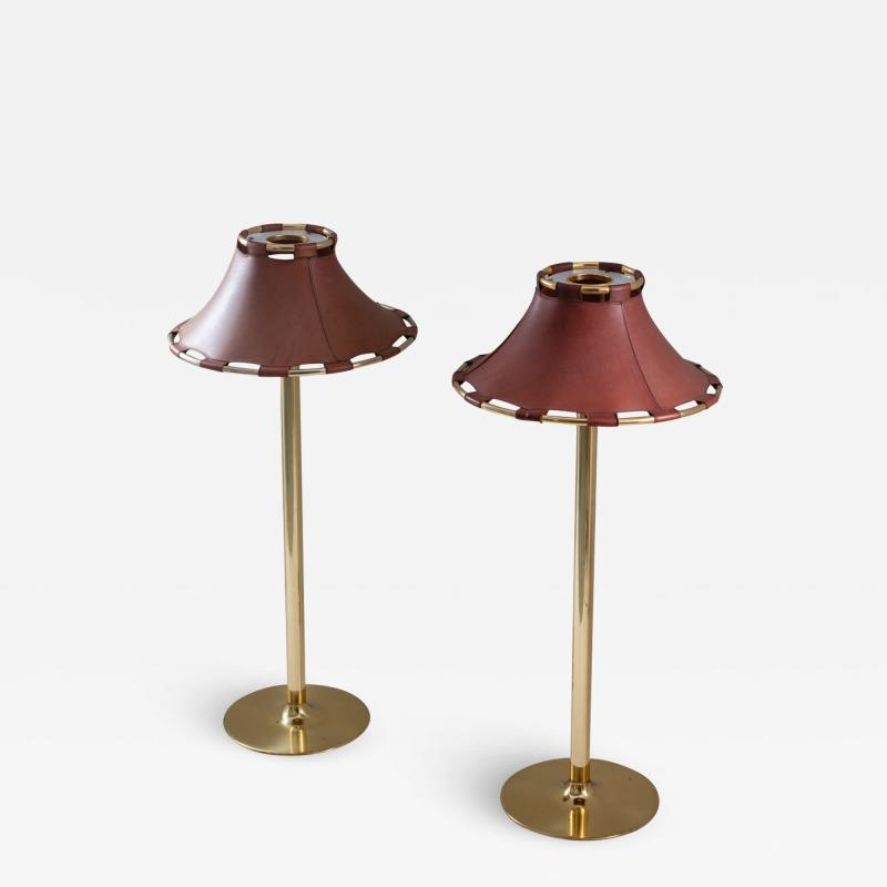 Atelje Lyktan Floor Lamps in Brass and Leather Model Anna by Anna Ehrner for Atelj Lyktan