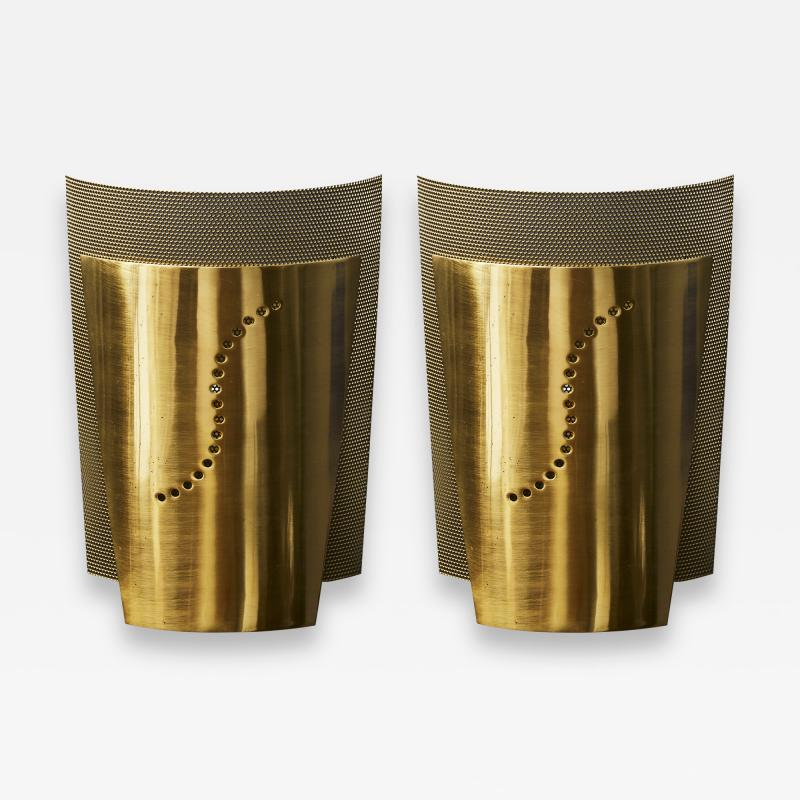 Atelje Lyktan Set of Atelje Lyktan Brushed Brass S Wall Sconces