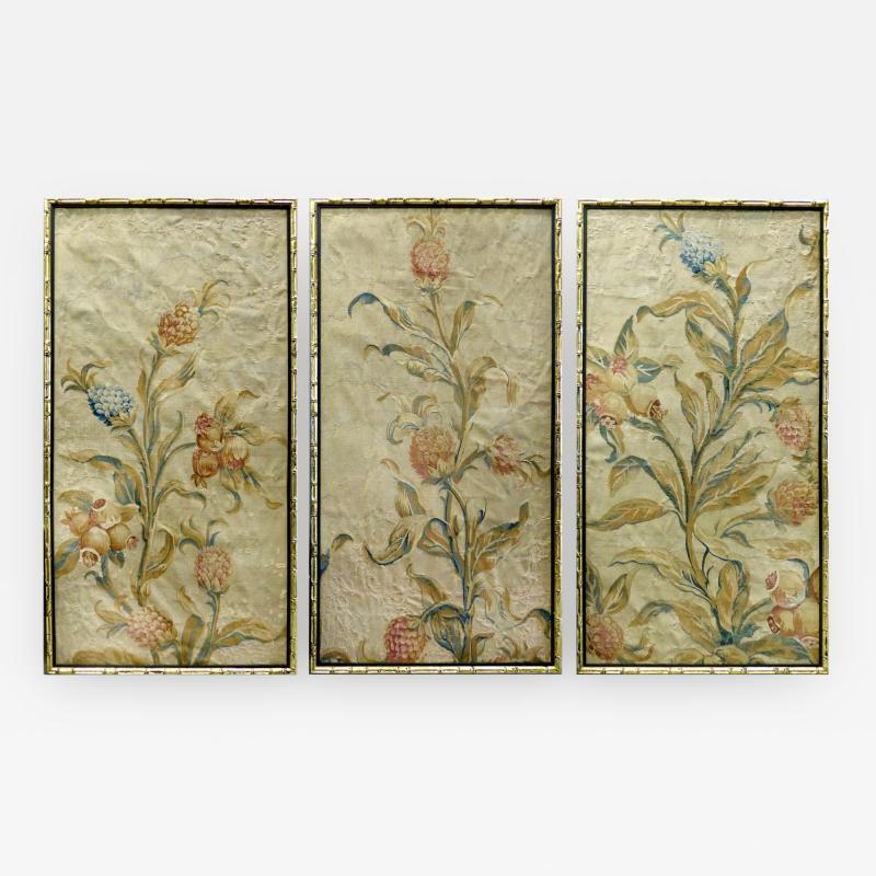 Aubusson 18th Century Floral Aubusson Panels Set of Three