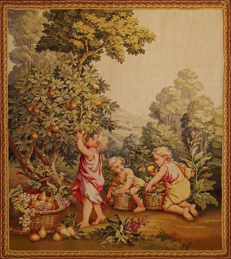 Aubusson 19th Century antique tapestry from Aubusson Children in the Vineyard