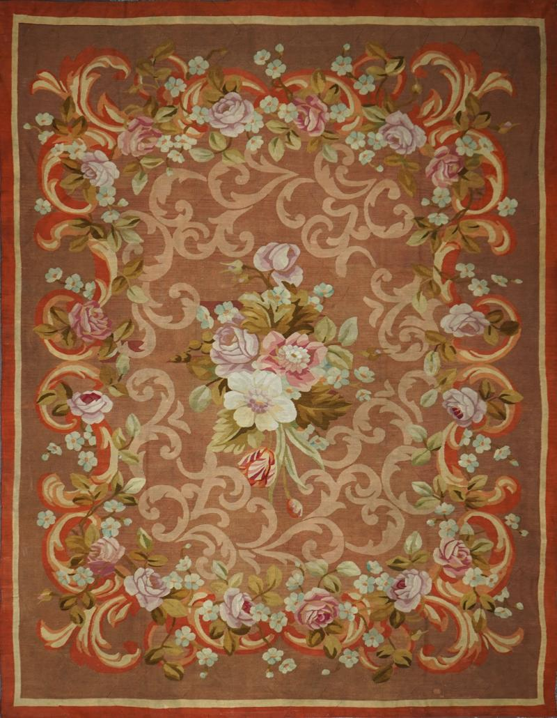 Aubusson French Restoration Period Handwoven Antique Aubusson Rug circa 1830