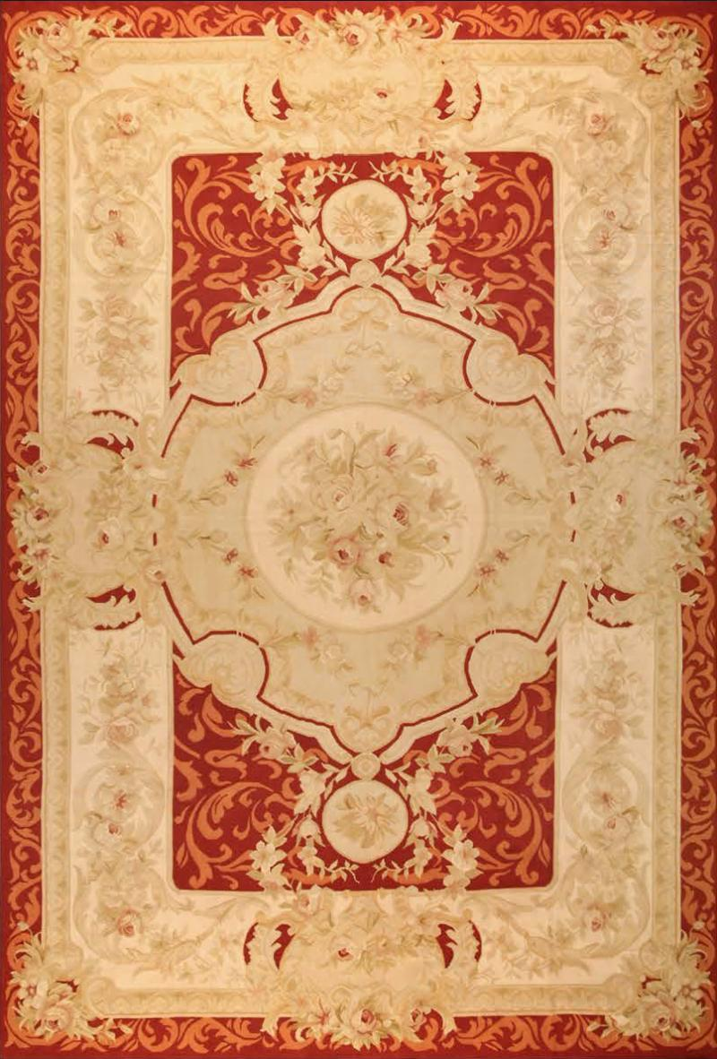 Aubusson Handwoven Antique Aubusson Wool and Silk Rug circa 1920