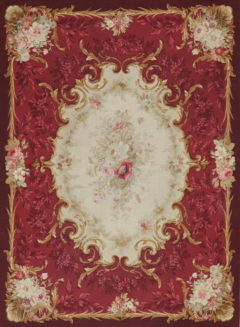 Aubusson Mid 19th Century Handwoven Antique Aubusson Wool Silk Rug