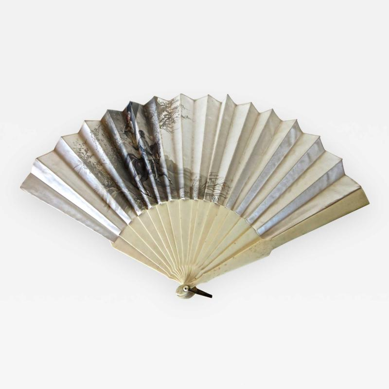 Auguste Lauronce Hand Held 19th Century Fan Signed Aug Lauronce French Circa 1885