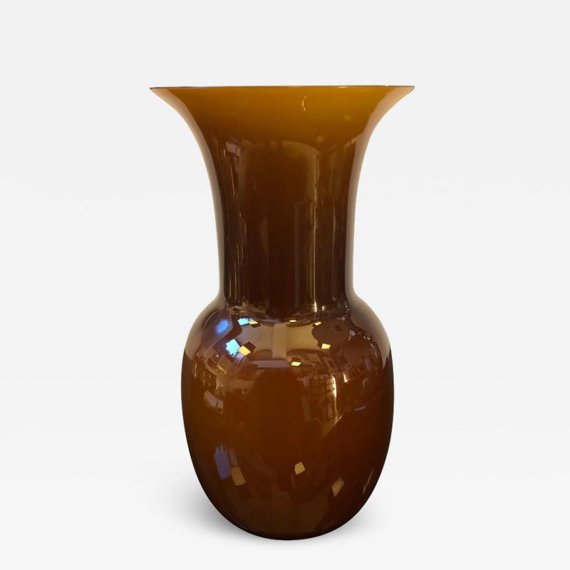 Aureliano Toso Aureliano Toso Brown Murano Glass Vase Italy 2000