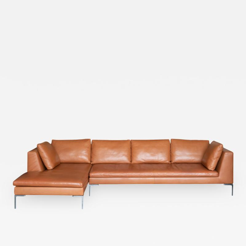 B B Italia B B Italia Charles Sectional in Cognac Leather by Antonio Citterio