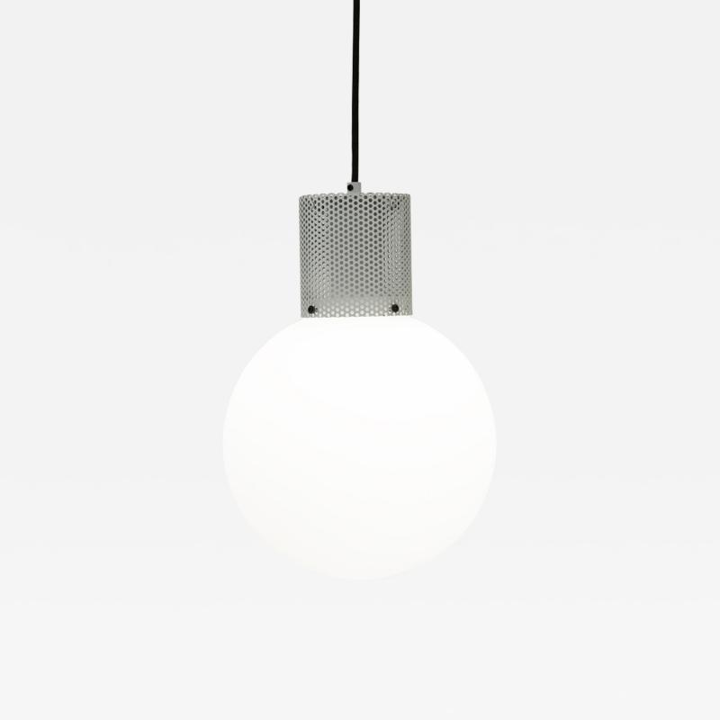 B TD Perf Pendant Light Large Off White Perforated Tube Glass Round Orb Shade