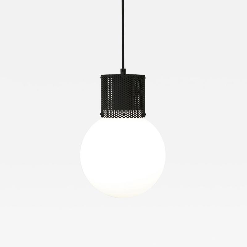 B TD Perf Pendant Light Medium Matte Black Perforated Tube Glass Round Orb Shade