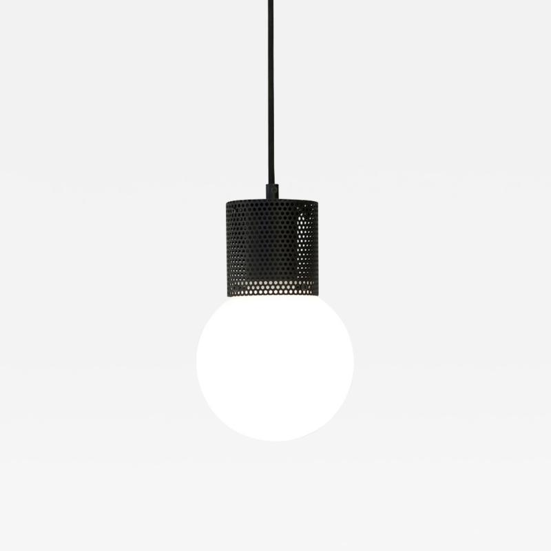 B TD Perf Pendant Light Small Black Perforated Tube Glass Round Orb Shade