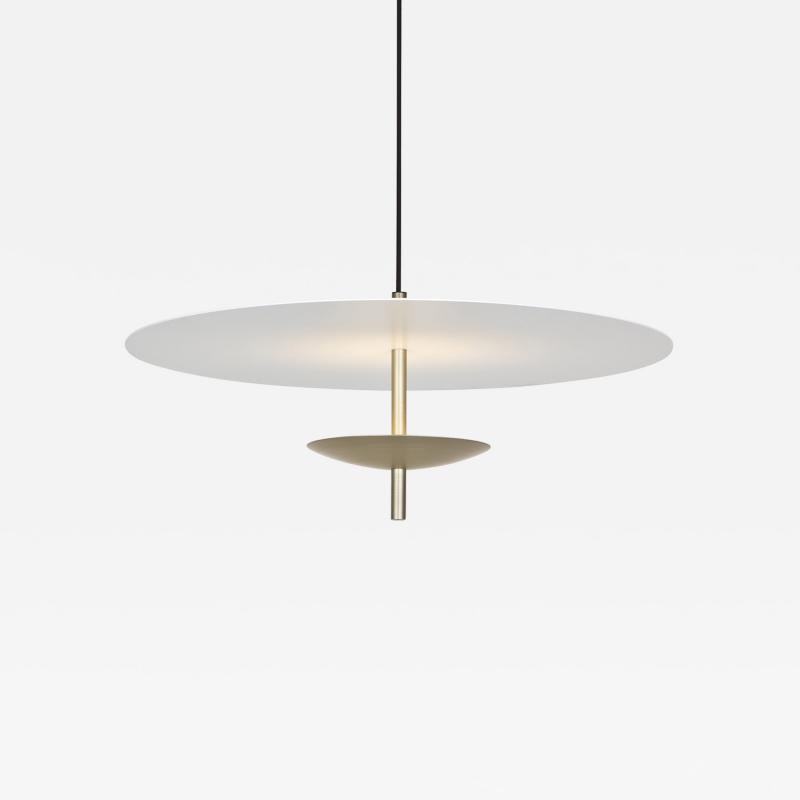 B TD Reflector LED Pendant Light Anodised Aluminum Satin Gold White Shade
