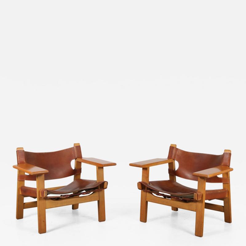 B rge Mogensen Borge Mogensen Pair of Spanish Chairs by B rge Mogensen for Fredericia Denmark 1960
