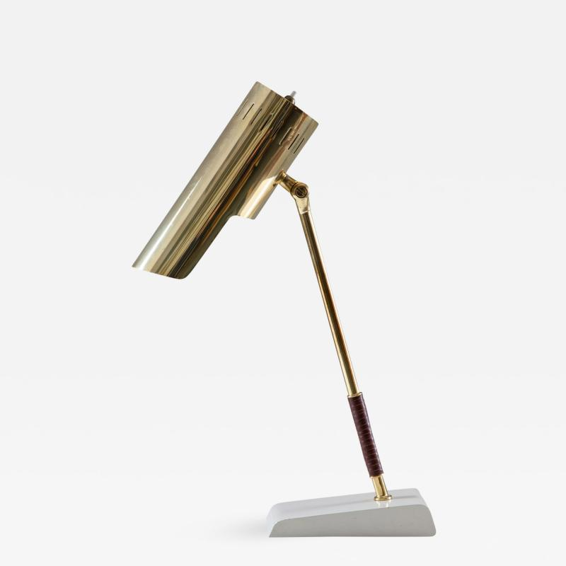 BOR NS BOR S Swedish Midcentury Table Lamp in Leather and Brass by Bor ns