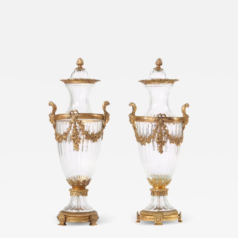 Baccarat 19th Century Pair Baccarat Crystal Bronze Mounted Urns Vases