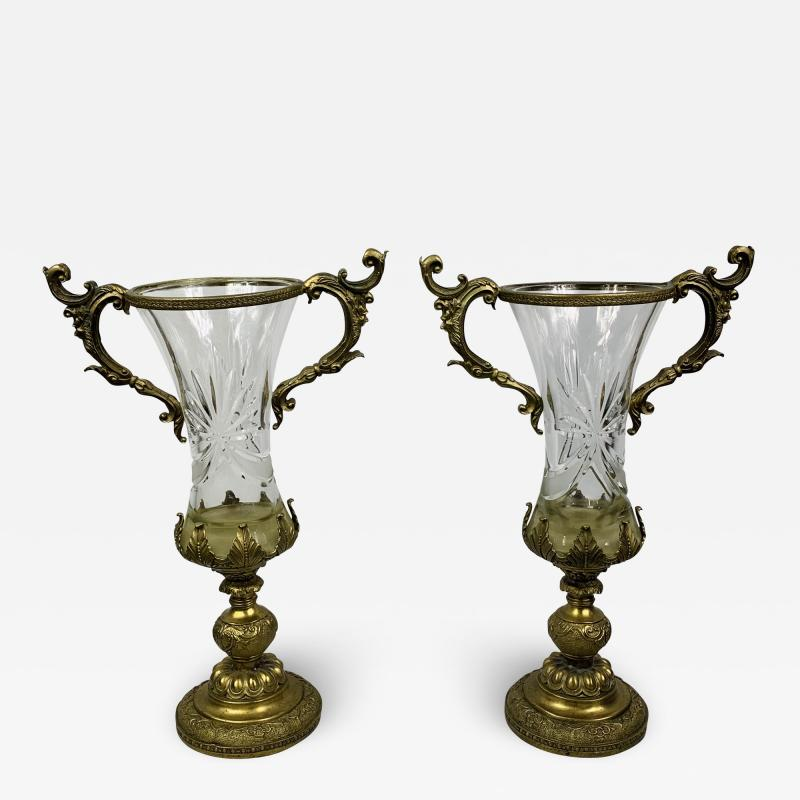 Baccarat Bronze Mounted and Cut Glass Twin Handle Vase or Urn