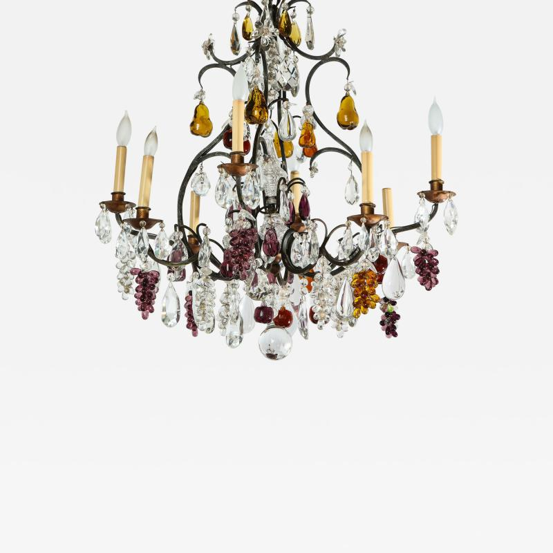 Baccarat French Baccarat Eight Light Chandelier with Colored Fruit Pendants