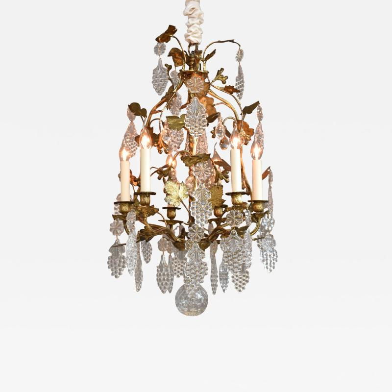 Baccarat Gilt bronze antique French chandelier with Baccarat crystals