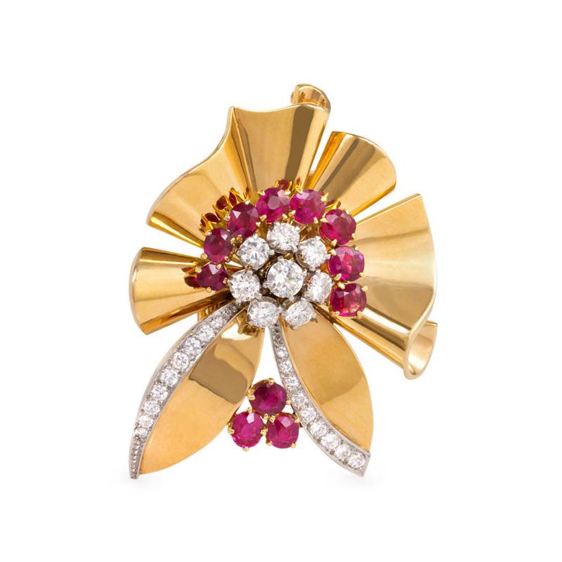 Bailey Banks Biddle Retro Gold Ruby and Diamond Brooch Retailed by Bailey Banks Biddle