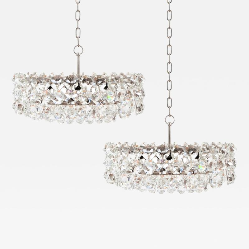 Bakalowits Sohne Pair of Large Crystal Drum Chandeliers