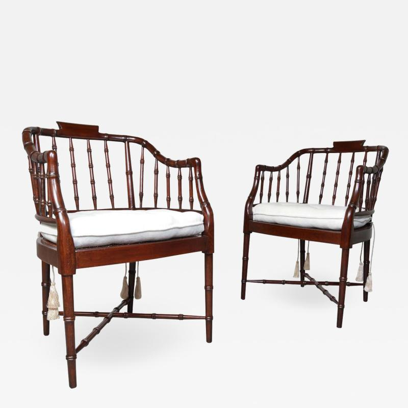 Baker Furniture Company Baker Furniture Faux Bamboo and Cane Regency Armchairs