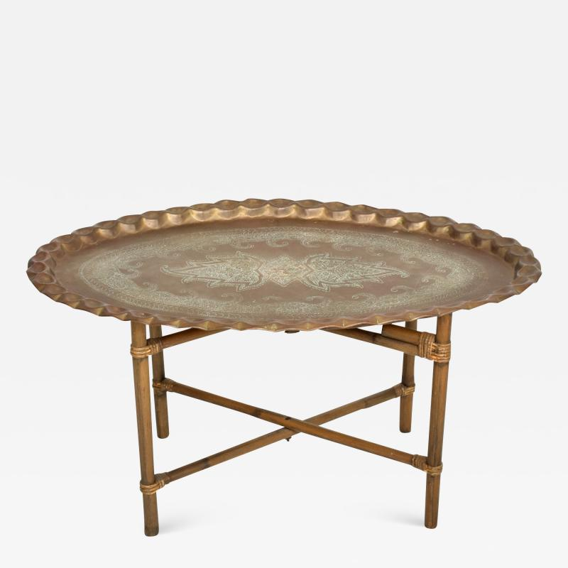 Baker Furniture Company Scalloped Indian Brass Bamboo Coffee Table Hollywood Regency Baker USA 1960s