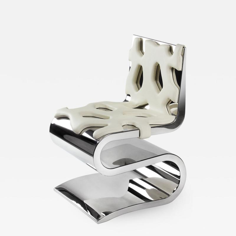 Barberini Gunnell Chair or side table in polished stainless steel chrome effect white leather