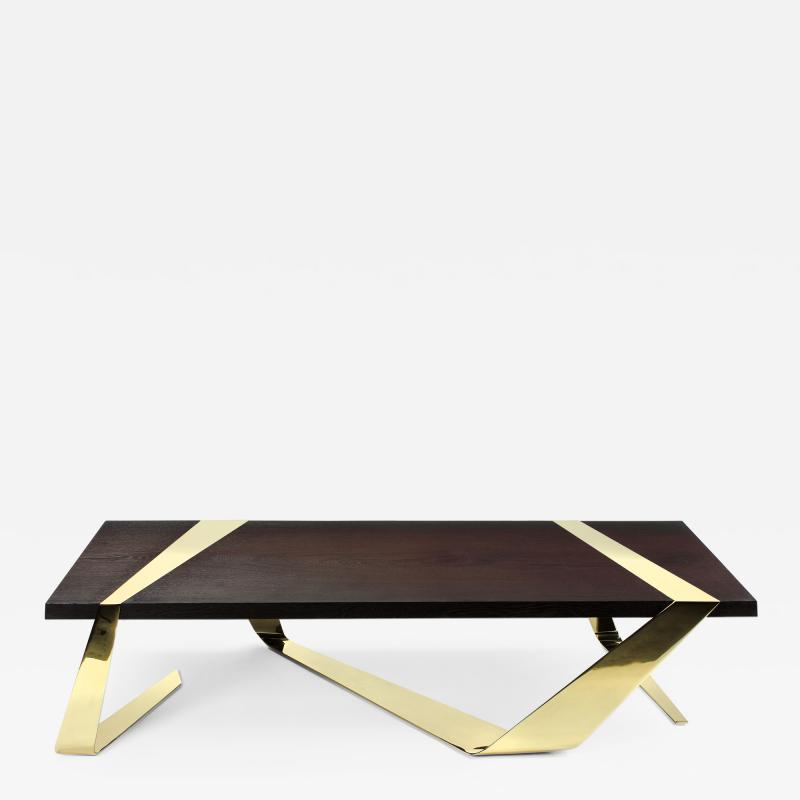 Barberini Gunnell Coffee table or center table top in solid Weng and polished brass Italy