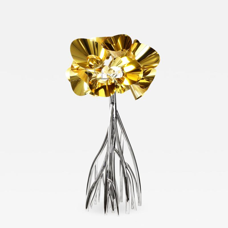 Barberini Gunnell Floor lamp in polished stainless steel chrome effect golden lampshade