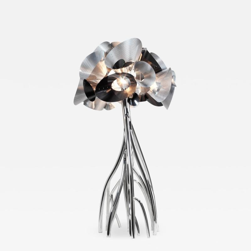 Barberini Gunnell Floor lamp in polished stainless steel chrome effect lampshade in carbon fiber