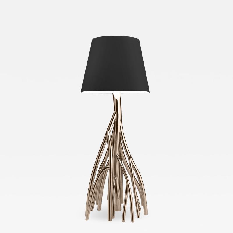 Barberini Gunnell Floor lamp in polished stainless steel rose gold chrome black linen lampshade